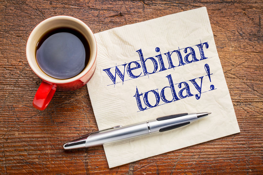 54299539 - webinar today reminder - handwriting on a napkin with cup[ of coffee