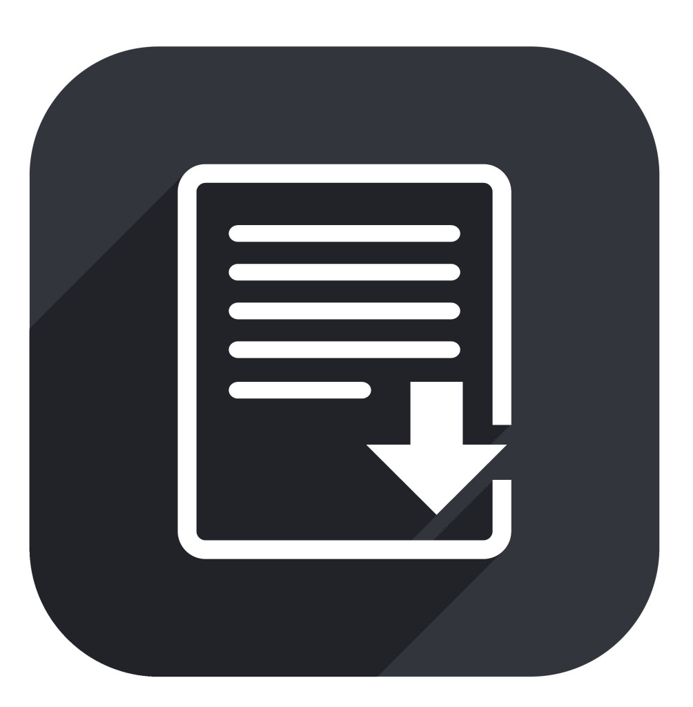 Download file icon. File document symbol. Circles and rounded squares 12 buttons.